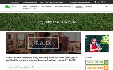 Screenshot of FAQ Page jimboombaturf.com.au - Brisbane grass supplier | Jimboomba Turf - captured Oct. 13, 2018