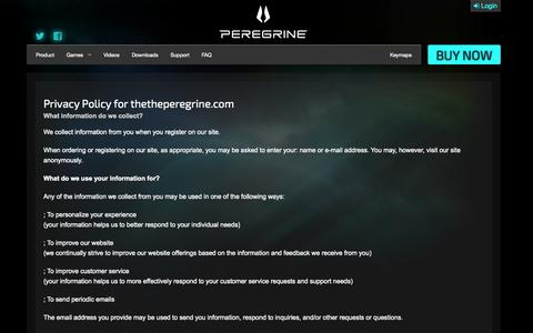 Screenshot of Privacy Page theperegrine.com - Privacy Policy   The Peregrine - captured Nov. 3, 2014