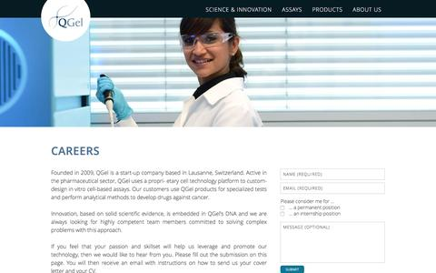 Screenshot of Jobs Page qgelbio.com - Careers | QGel Innovating Drug Discovery - captured Jan. 23, 2016
