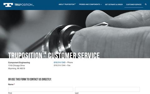 Screenshot of Contact Page tpprobes.com - TruPositionTM Customer Service – TruPosition - captured Sept. 29, 2018