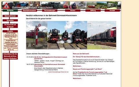 Screenshot of Home Page bahnwelt.de - www.bahnwelt.de - Herzlich willkommen in der Bahnwelt Darmstadt-Kranichstein - captured June 20, 2015