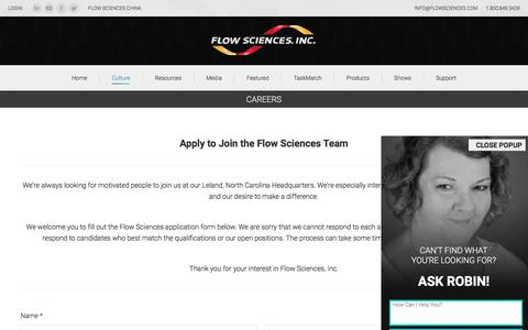 Screenshot of Jobs Page flowsciences.com - Careers - Flow Sciences - captured Oct. 14, 2017