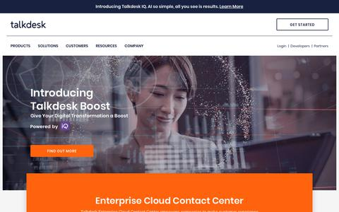 Screenshot of Home Page talkdesk.com - Talkdesk | Experience the Most Innovative Cloud Contact Center Platform - captured July 8, 2019