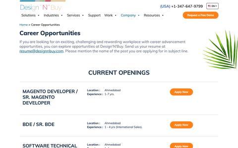 Screenshot of Jobs Page designnbuy.com - New Job Opening | Careers | Design 'N' Buy - captured June 22, 2019