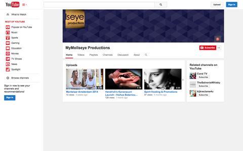 Screenshot of YouTube Page youtube.com - MyMollseye Productions  - YouTube - captured Oct. 26, 2014