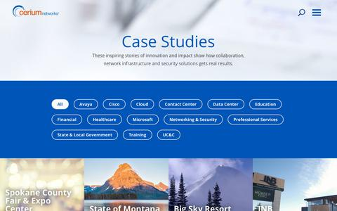 Screenshot of Case Studies Page ceriumnetworks.com - Case Studies - Cerium Networks - captured July 17, 2018
