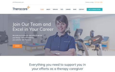 Screenshot of Home Page theracareinc.com - Homepage - Theracare, inc. - captured Sept. 21, 2018
