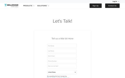 Screenshot of Developers Page hellosign.com - API Integration Contact Us Form - HelloSign API - captured Feb. 21, 2020