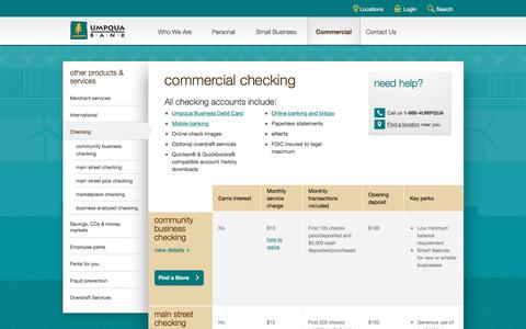 Umpqua Bank commercial checking -- compare accounts