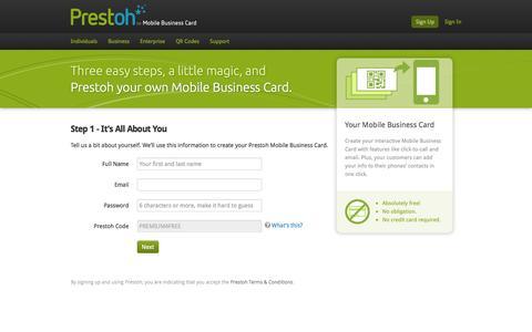 Screenshot of Signup Page prestoh.com - Sign Up | Getting Started - captured Sept. 30, 2014