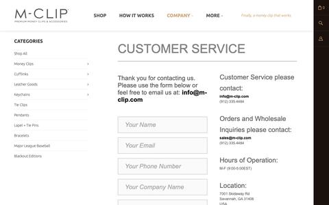 Screenshot of Contact Page FAQ Page Support Page m-clip.com - Customer Service > M-Clip - captured Nov. 5, 2018