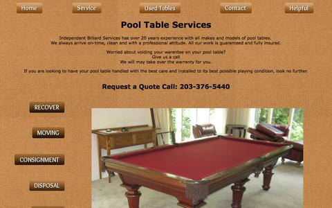 Screenshot of Services Page independentbilliardservices.com - Pool Table Services - Available from Independent Billiard Services - captured Jan. 8, 2016