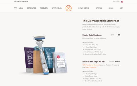 Screenshot of Signup Page dollarshaveclub.com - Dollar Shave Club | Select Your Collection - captured June 1, 2018