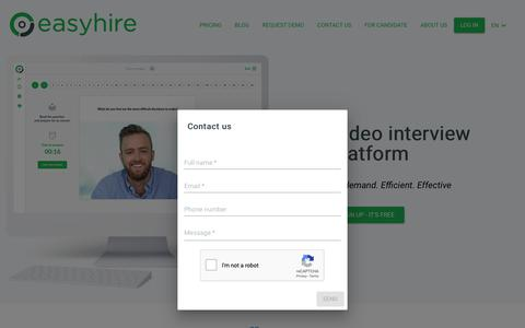 Screenshot of Contact Page easyhire.me - EasyHire.me - Online Video Interview - Change the world of human resources! - captured Nov. 2, 2018