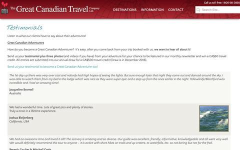 Screenshot of Testimonials Page greatcanadiantravel.com - Testimonials   The Great Canadian Travel Co. - captured Feb. 28, 2016