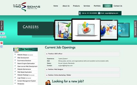 Screenshot of Jobs Page 2sigmas.com captured Oct. 7, 2014