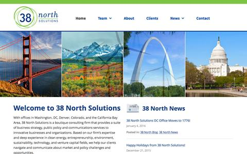 Screenshot of Home Page 38northsolutions.com - Public policy in clean energy and innovative enterprises | 38 North Solutions - captured Feb. 24, 2016