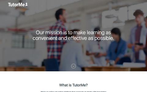 Screenshot of About Page tutorme.com - TutorMe: Online Tutoring | On-Demand Homework Help | Test Prep Courses - captured Feb. 23, 2016