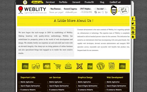 Screenshot of About Page weblity.com - Web Development Company India,france Web Design Firm e-commerce Portal Developer Mobile App Design And Development Services - captured Oct. 7, 2014