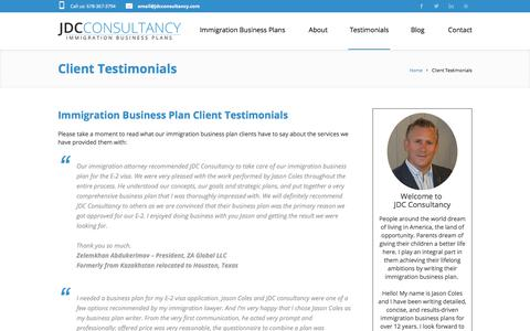 Screenshot of Testimonials Page jdcconsultancy.com - JDC Consultancy Immigration Business Plan Client Testimonials - captured Sept. 25, 2018