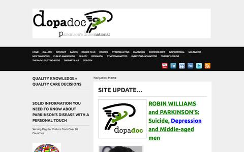 Screenshot of Home Page Blog Privacy Page dopadoc.com - Dopadoc Parkinson's:Research,Symptoms,Diagnosis,Treatment,Encouragment | Dopadoc Parkinson's International - captured Oct. 4, 2014