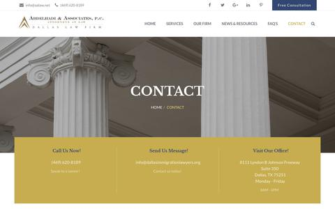 Screenshot of Contact Page aalaw.net - Contact - Dallas Immigration Lawyers - captured Oct. 2, 2018