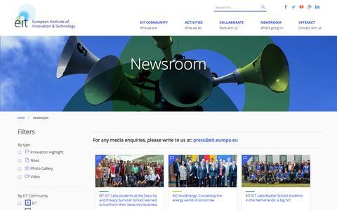 Screenshot of Press Page europa.eu - Newsroom | European Institute of Innovation & Technology (EIT) - captured Sept. 19, 2014