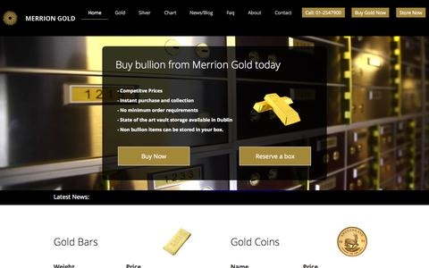Screenshot of Home Page merriongold.ie - Gold Bullion And Safety Deposit Boxes Dublin Ireland - MerrionGold.ie - captured Sept. 19, 2014