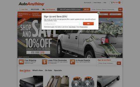 Screenshot of Home Page autoanything.com - AutoAnything | Auto Accessories & Aftermarket Parts | Truck Accessories & Car Accessories - Floor Mats, Tonneau Covers & Car Covers - captured Oct. 1, 2015