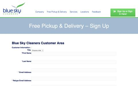 Screenshot of Signup Page blueskycleaners.com - Free Pickup & Delivery - Sign Up • Blue Sky Cleaners - captured Nov. 6, 2018
