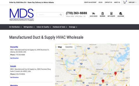 Screenshot of Locations Page mdshvac.com - Manufactured Duct & Supply HVAC Wholesale - captured Dec. 17, 2018