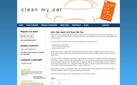 Screenshot of Jobs Page ecofriendlycarwash.net - The car wash that comes to you! - Careers - captured Dec. 7, 2015