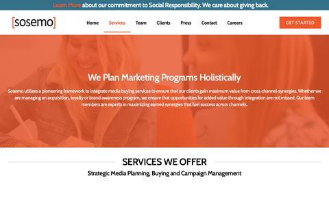 Screenshot of Services Page sosemo.com - Media Services – SEO, SEM, Social Media - Sosemo - captured Dec. 25, 2018