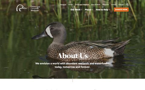 Screenshot of About Page ducks.ca - About Us — Ducks Unlimited Canada - captured Nov. 14, 2018