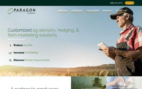 Screenshot of Home Page myagadvisor.com - Paragon Ag Advisory - captured Sept. 26, 2018