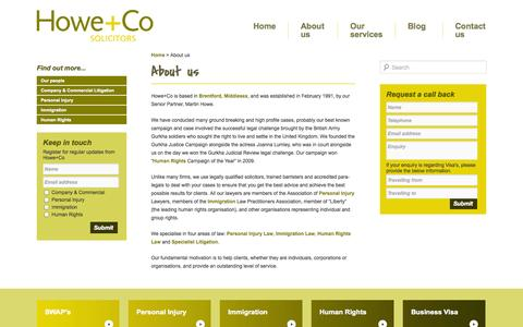 Screenshot of About Page howe.co.uk - About us - Solicitors in Brentford, London - captured Oct. 3, 2014