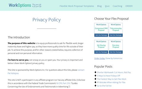 Screenshot of Privacy Page workoptions.com - Privacy Policy | Flexible Work Options - captured June 13, 2018