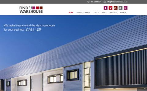 Screenshot of Home Page findawarehouse.co.za - Rent, Buy or Build a Warehouse | Find A Warehouse - captured June 5, 2017