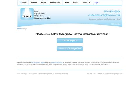 Screenshot of Login Page raeyco.com - Login - Raeyco Lab Equipment Systems Management Ltd. - captured Oct. 7, 2014