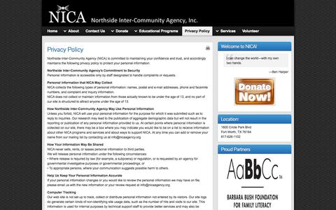 Screenshot of Privacy Page nicaagency.org - Privacy Policy » NICA - captured Oct. 7, 2014