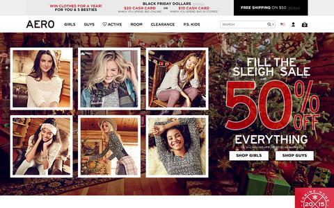 Screenshot of aeropostale.com - Guys & Girls Clothes, Hoodies, Graphic Tees & Jeans | Aeropostale - captured Nov. 19, 2015