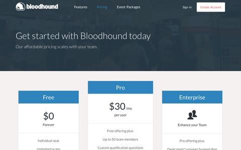 Screenshot of Pricing Page bloodhound.com - Bloodhound | Pricing - captured Sept. 13, 2014