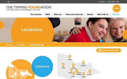 Screenshot of Locations Page tipping.org.au - Our locations - Disability services Victoria | The Tipping Foundation - captured July 7, 2017