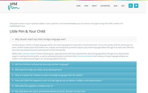 Screenshot of FAQ Page littlepim.com - FAQ   Frequently Asked Questions   Learn a Language with Little Pim® - captured May 9, 2017