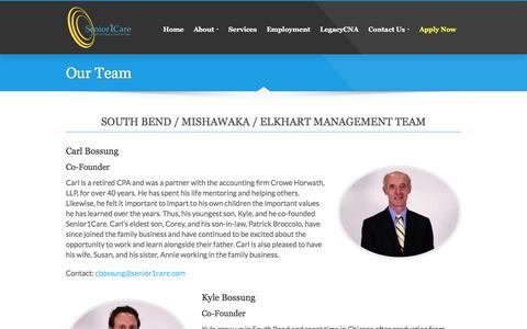 Screenshot of Team Page senior1care.com - Our Team - Senior1Care - captured May 17, 2018