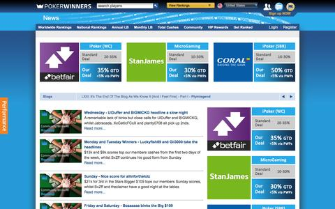 Screenshot of Press Page pokerwinners.com - Latest News and Features   PokerWinners - captured Jan. 22, 2016
