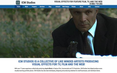 Screenshot of Home Page icmstudios.co.uk - Visual Effects, Post Production  & Animation | ICM Studios - captured Sept. 30, 2014