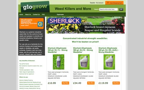 Screenshot of Home Page glogrow.com - Glyphosate Weed Killer, Tomato Feed, Lawn Feed, Plant Food, Hydroponics and Gardening Supplies - Glogrow - captured Dec. 9, 2015