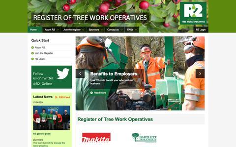Screenshot of Home Page r2register.co.uk - Register of Tree Work Operatives - R2 - captured Oct. 6, 2014