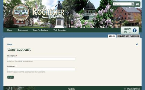 Screenshot of Login Page rochesternh.net - User account   Rochester NH - captured Aug. 1, 2017